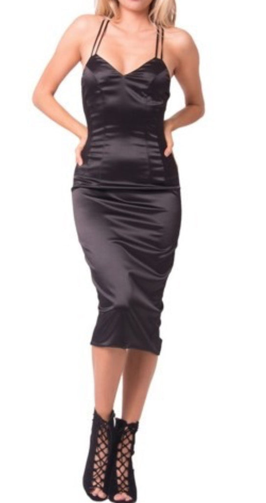 Black Double Satin Dress
