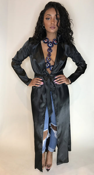 Black Belted Satin Duster