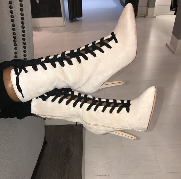 CR Suede Lace Up Booties