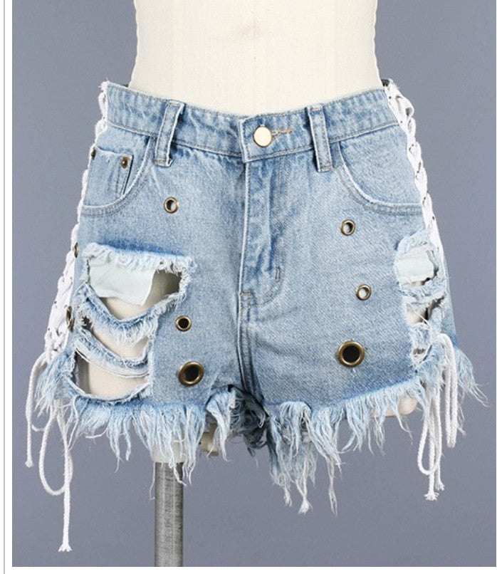 Eyelet Distressed Denim Shorts