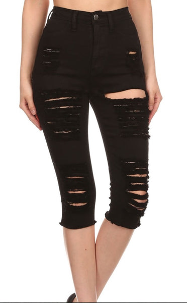 Black Distressed Bermudas