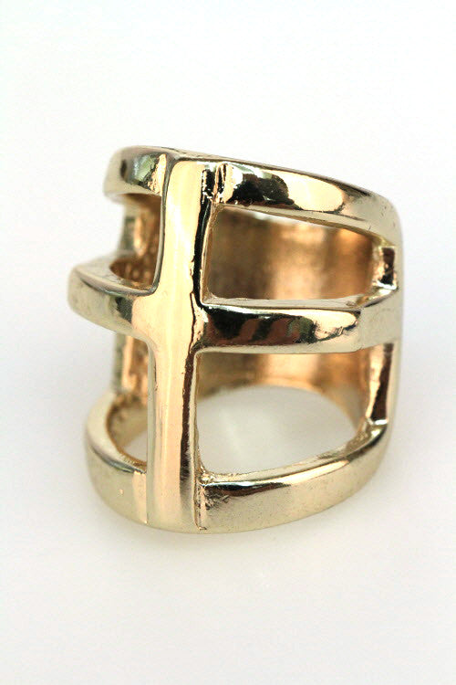 Gold Square Block Ring