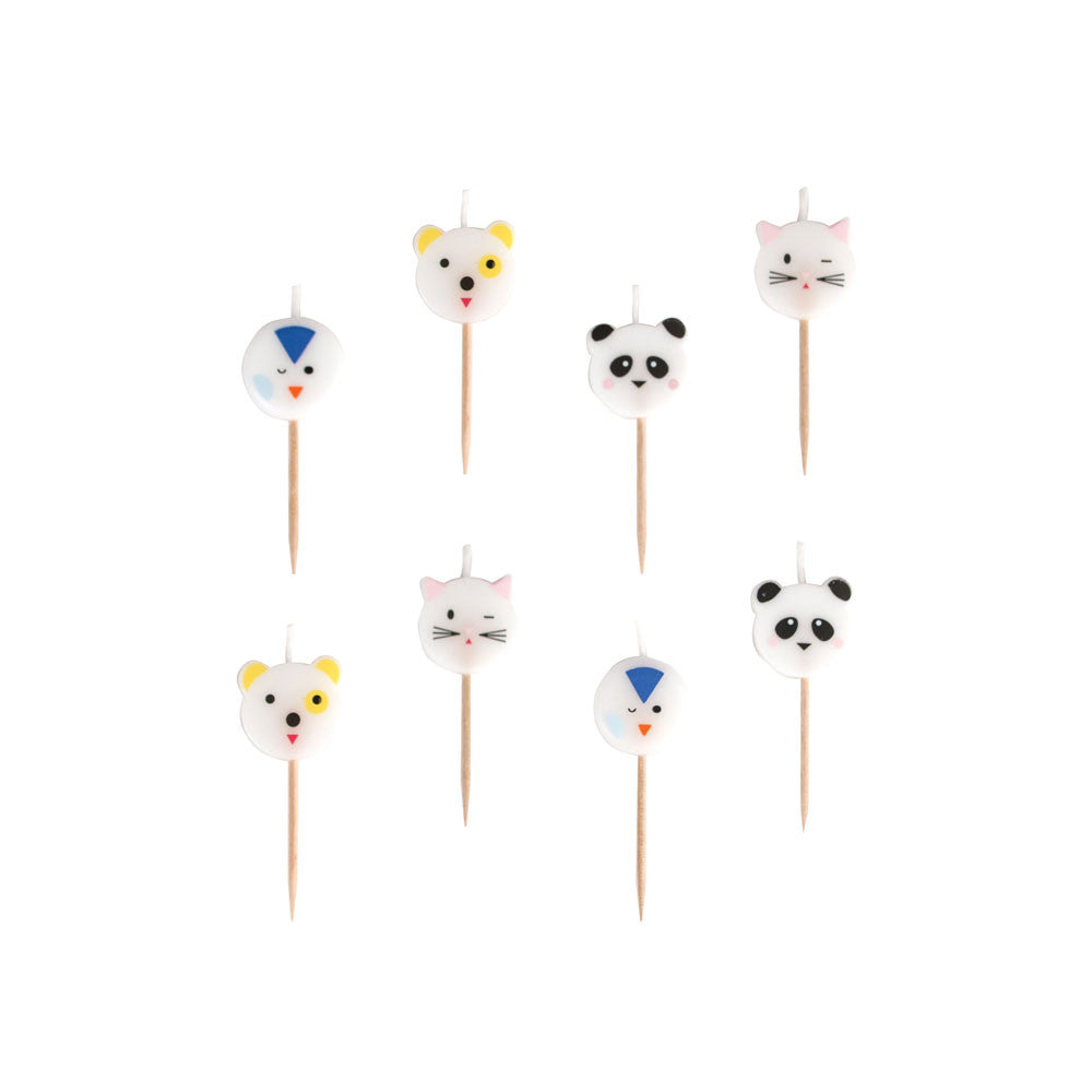 Pack of 8 animal candles