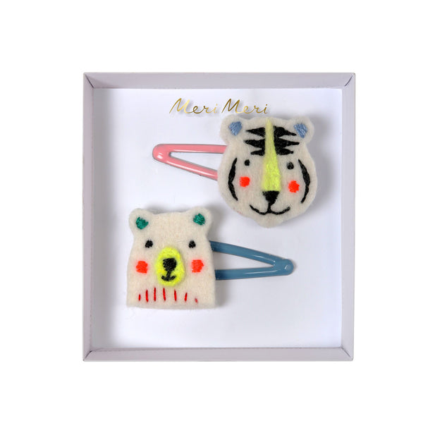 Embroidered Bear & Tiger felt hair clips - eenymeenyfinal
