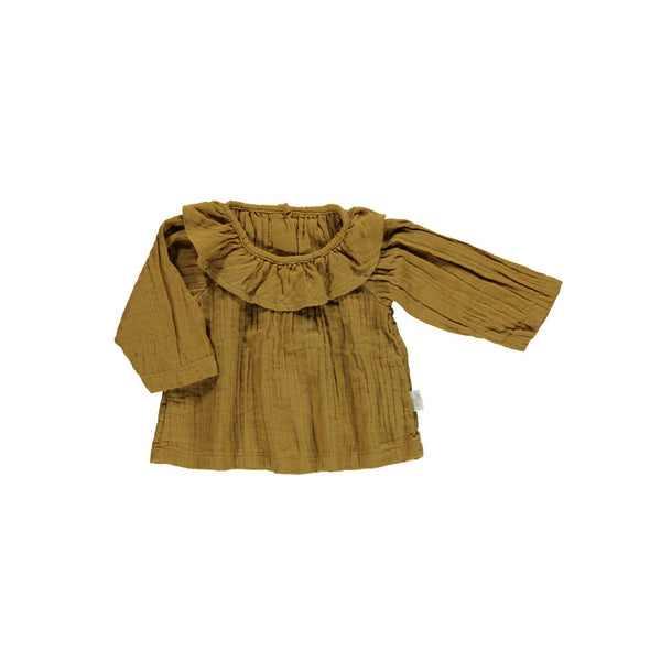 Organic cotton Frill Collar Blouse - Brown Sugar
