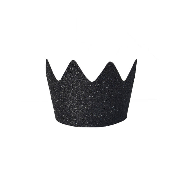 Pack of 8 Black Glitter Crowns - eenymeenyfinal