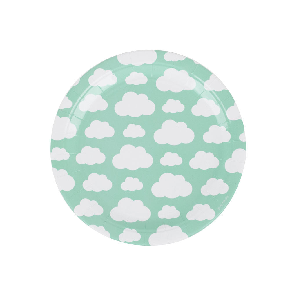 Pack of 8 party plates - clouds