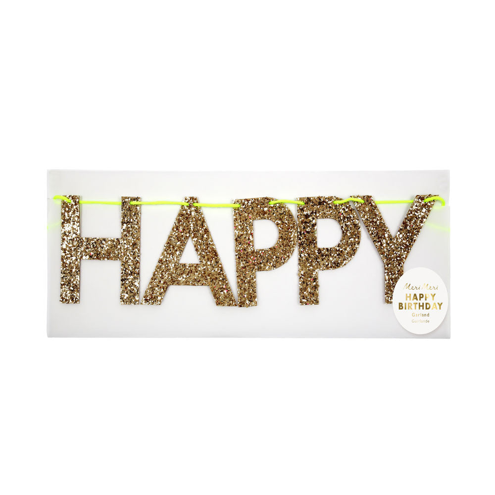 Gold Happy Birthday Garland - eenymeeny kids