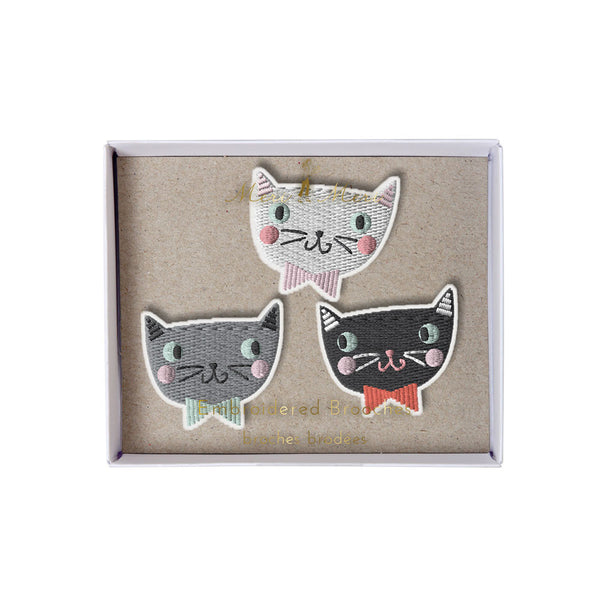 Embroidered Cat brooches - eenymeenyfinal