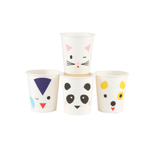 Pack of 8 mini paper cups - animals