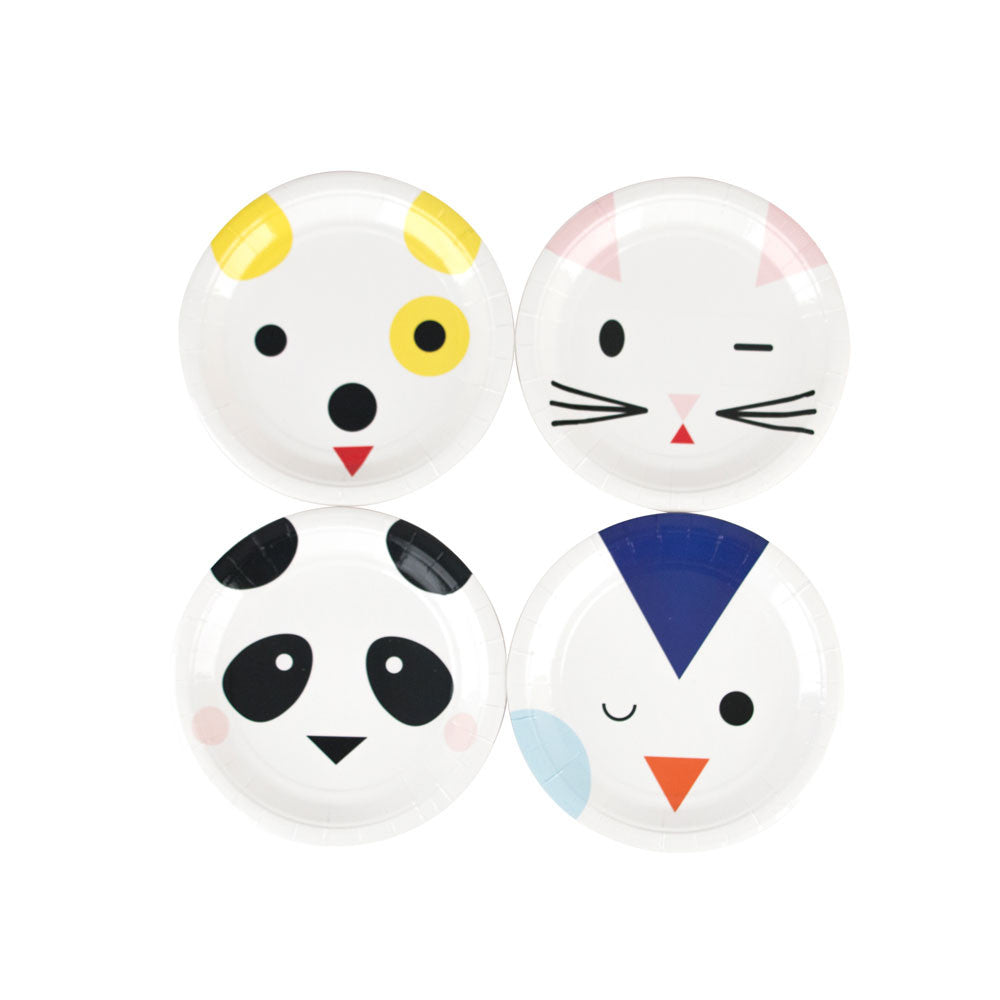 Pack of 8 mini paper plates - animals
