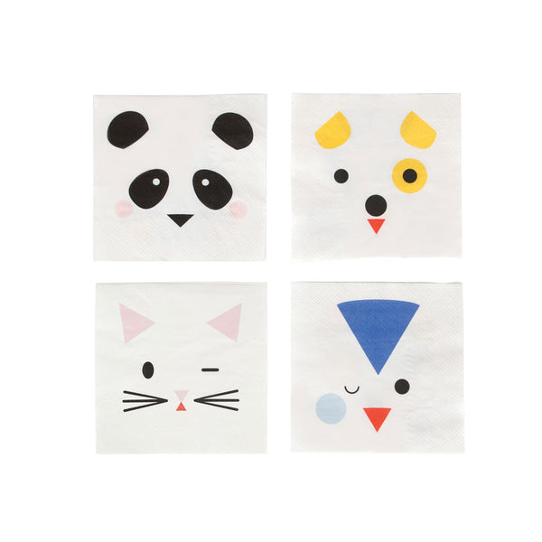 Pack of 20 mini napkins- Animals