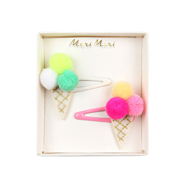 Pom Pom ice-cream hair slides