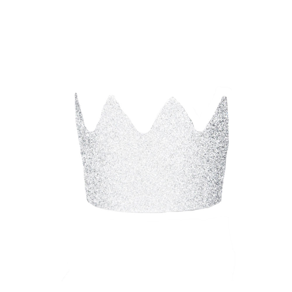 Pack of 8 Silver Glitter Crowns - eenymeenyfinal