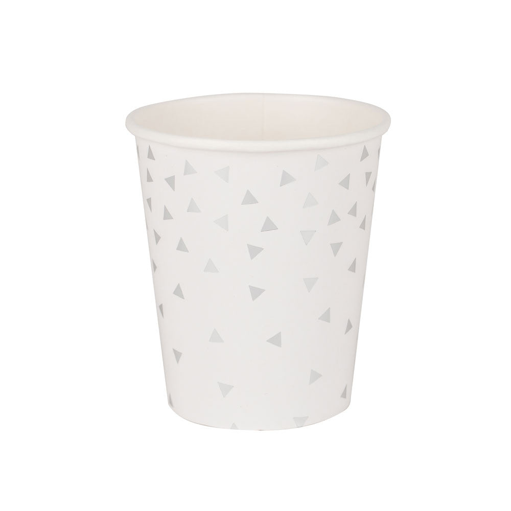 Pack of 8 paper cups - foil silver triangles - eenymeenyfinal