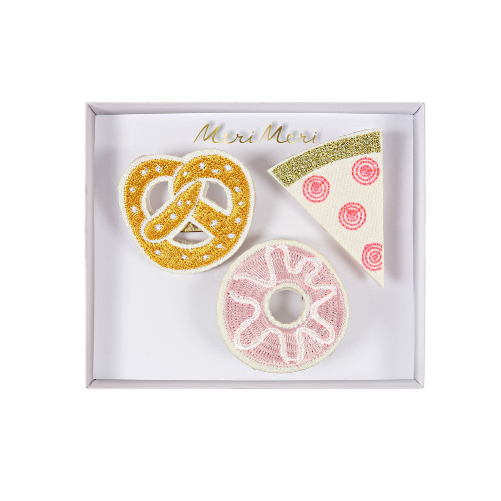 Embroidered snack brooches - eenymeenyfinal