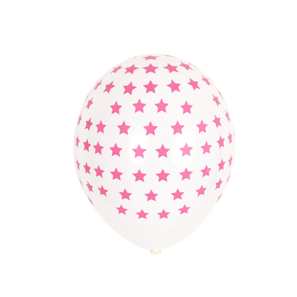 Pack of 5 balloons - pink stars