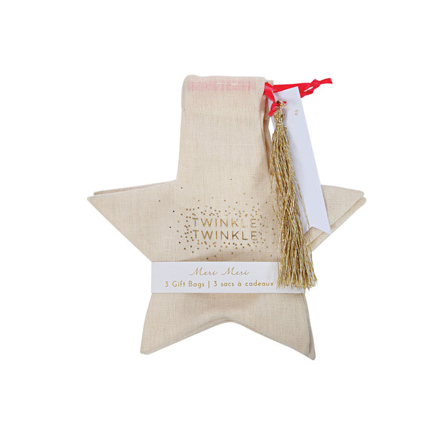 Pack of 3 cotton star gift bags (sale)