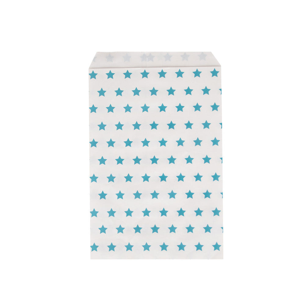 Pack of 10 paper party bags - blue stars