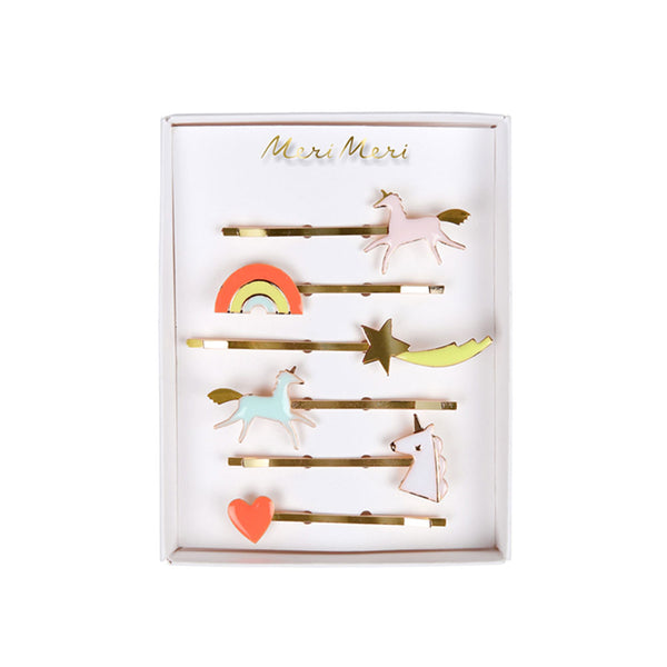 Unicorn enamel hair clips