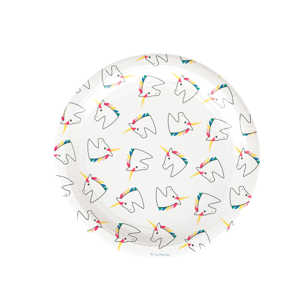 Pack of 8 paper plates - unicorn - eenymeeny kids