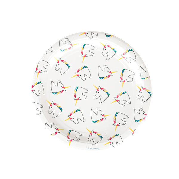 Pack of 8 paper plates - unicorn