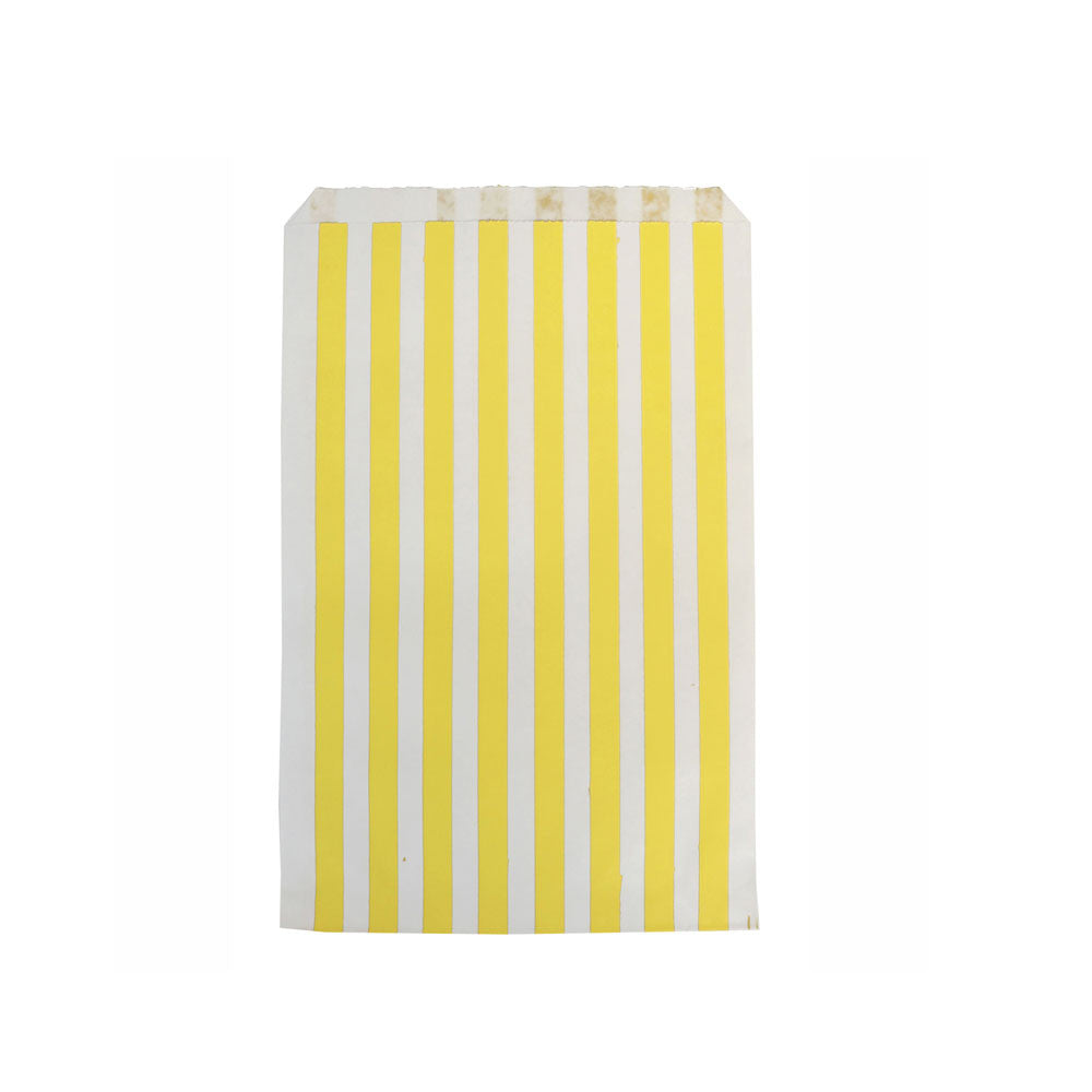 Pack of 10 paper party bags - yellow stripes - eenymeenyfinal