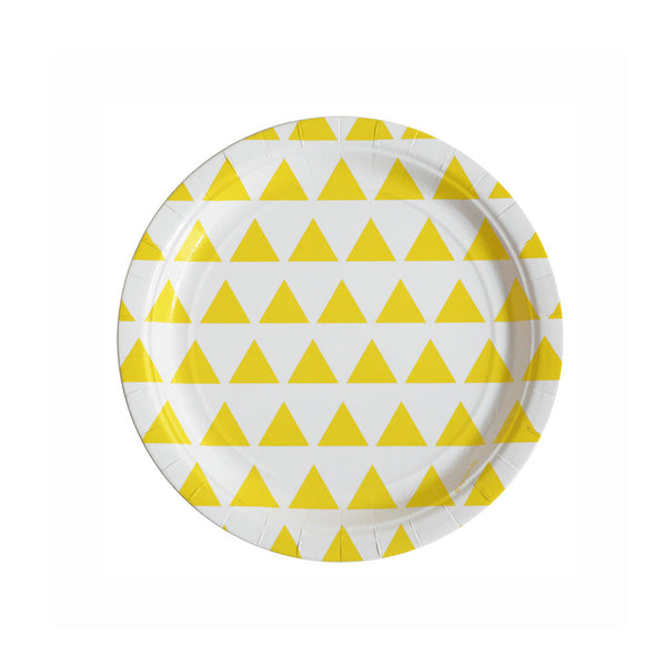 Pack of 8 paper plates - yellow triangles