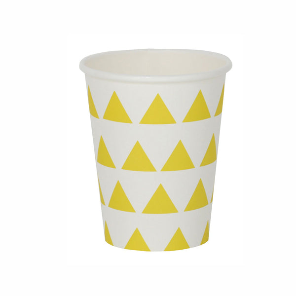 Pack of 8 Paper cups- Yellow Triangles