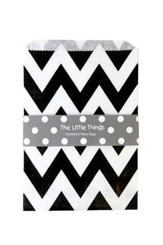 Black Chevron Treat Party Bags (Quantity 12)  - 1