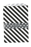 Black Stripe Treat Party Bags (Quantity 12) - The Little Things