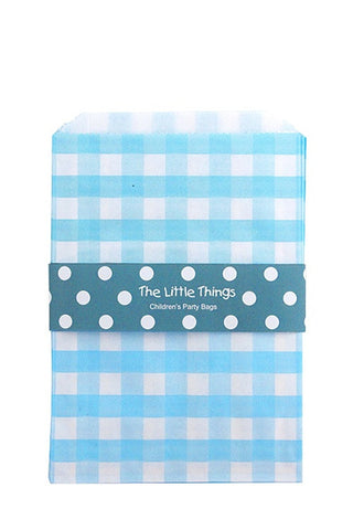 Blue Gingham Treat Party Bags (Quantity 12)  - 1