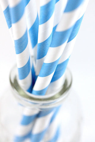 Blue Stripe Paper Straws