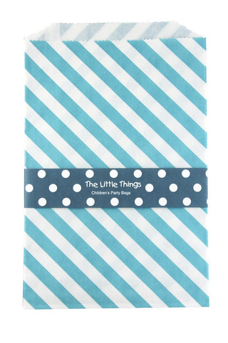 Blue Stripe Treat Party Bags (Quantity 12)  - 1