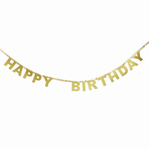 Gold Glitter Happy Birthday Garland - The Little Things