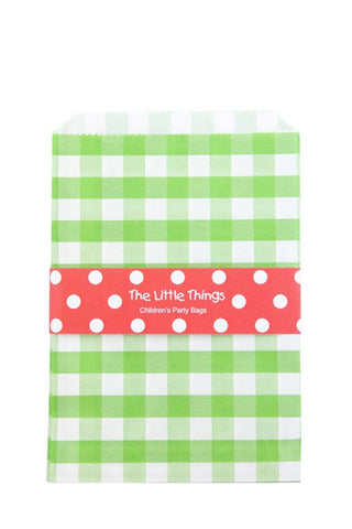 Green Gingham Treat Party Bags (Quantity 12)  - 1