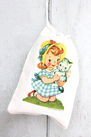 Little Girl Vintage Fabric Party Bag  - 1