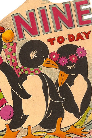 Vintage Birthday Card - Nine Today - The Little Things