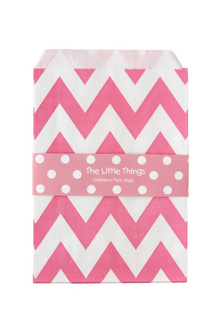 Pink Chevron Treat Party Bags (Quantity 12)  - 1