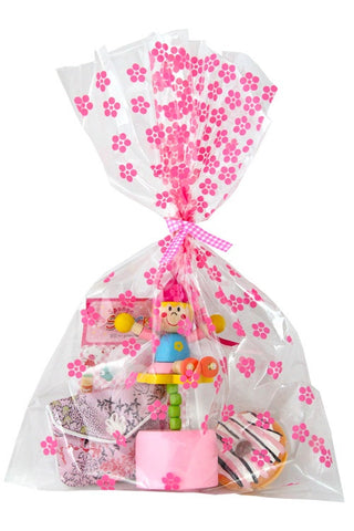 Pink Flowers Cello Party Bag  - 1