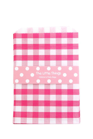 Pink Gingham Treat Party Bags (Quantity 12 )  - 1