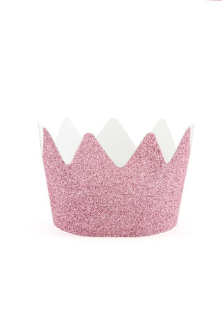 Pink Glitter Crowns (Quantity 8) - The Little Things