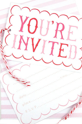 Pink Stripe Invitations (Quantity 8) - The Little Things