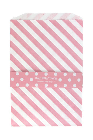 Pink Stripe Treat Party Bags (Quantity 12 )  - 1