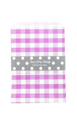 Purple Gingham Treat Party Bags (Quantity 12)  - 1