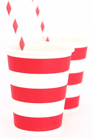 Red Stripe Cups (Quantity 12)