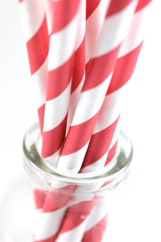 Red Stripe Paper Straws - The Little Things