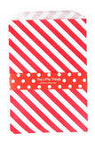 Red Stripe Treat Party Bags (Quantity 12 ) - The Little Things