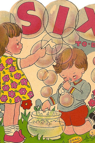 Vintage Birthday Card - Six Today - The Little Things