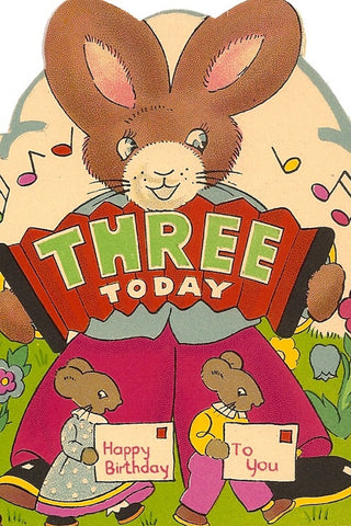 Vintage Birthday Card - Three Today - The Little Things